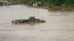 Local ferry boat , mekong, cambodia stock footage