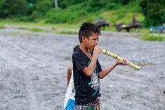 Local Filipino children living near volcano Mount Pinatubo on Au Royalty Free Stock Images