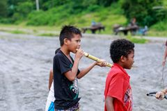 Local Filipino children living near volcano Mount Pinatubo on Au Royalty Free Stock Photography