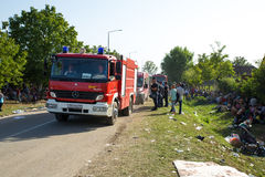 Local Fire Brigade provides water to Refugees in Tovarnik Stock Images