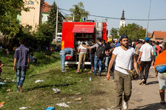 Local Fire Brigade provides water to Refugees in Tovarnik Stock Photography