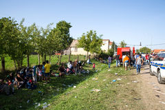Local Fire Brigade provides water to Refugees in Tovarnik Royalty Free Stock Photo