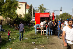 Local Fire Brigade provides water to Refugees in Tovarnik Royalty Free Stock Photography