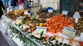 Local market in montmartre paris, france royalty free stock photos