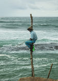 Local fisherman on a pole Royalty Free Stock Images