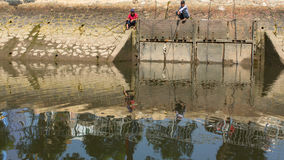 Local fishermans people fish in the Mekong river. Royalty Free Stock Photography