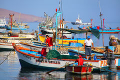 Local fishermen on a boat in Paracas Bay, Peru Royalty Free Stock Photography