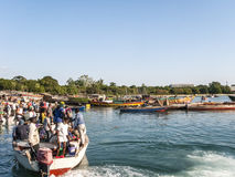 Local fishermen at the fish market in Daressalaam Royalty Free Stock Images