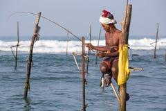 Local fishermen are fishing in unique style in South Sri Lanka Stock Image
