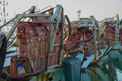 Local fishing boat, a catch of shellfish, especially oysters and clams Royalty Free Stock Images