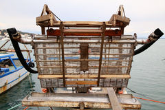 Local fishing boat, a catch of shellfish, especially oysters an Royalty Free Stock Images