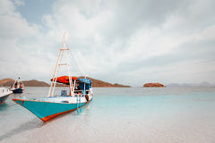 Local fishing boat in the ocean. Local fishing boat. Bali, Indonesia Stock Image
