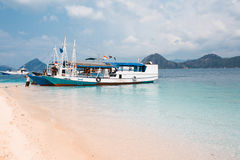 Local fishing boat in the ocean. Local fishing boat. Bali, Indonesia Stock Photo