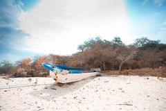 Local fishing boat in the ocean Royalty Free Stock Images