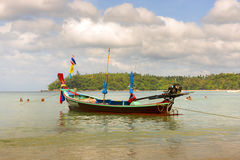 The local fishing boat on the sea and misty cloudy sky backgroun. D.In thailand Royalty Free Stock Photo