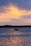 Local fishing boat at sunset Royalty Free Stock Photography