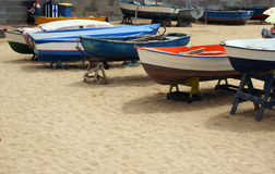 Local fishing boats  beach Playa de las Canteras Grand Canary Is Stock Photos