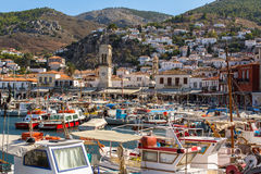Local fishing boats in the harbour of Hydra island. Aegean sea, Greece Stock Photography