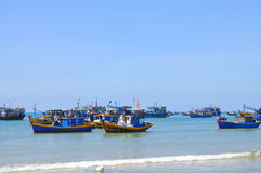 Local fishing boats are mooring in the Lagi beach Stock Images