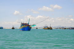 Local fishing boats are mooring in the Lagi beach Stock Photography