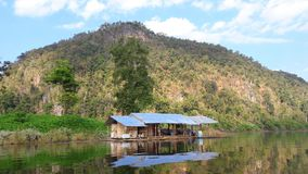 Local fishing house Shine in the water. Mae Ngad Dam and Reservoir. Nature in the beautiful dam. Chiang Mai. Thailand stock photography
