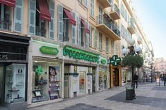 Local French pharmacy in Nice royalty free stock photos