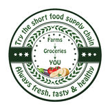 Local fresh Food printable advertising sticker / label. Try the short food supply chain. Always fresh, tasty and healthy. - local food advertising sticker / Royalty Free Stock Photos