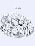 Local fruit in Basket, Hand drawn Sketch Line art illustration V. Ector style, Asian fruit Traditional Royalty Free Stock Photos