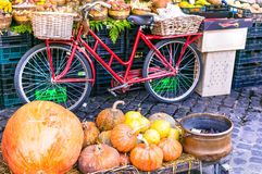 Local Fruit market with old bike and pumpkins in Campo di fiori Stock Photos