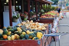 Local fruit shop, dealer in Princeton, British Columbia. Nice decoration with pumpkin, groud, fruits Stock Photos
