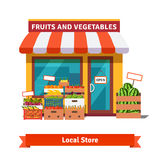 Local fruit and vegetables store building. Groceries crates in front of storefront. Flat  vector illustration on white background Stock Photo