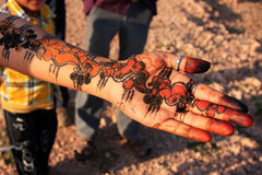 Local girl showing henna painting, Khichan village, India. Local girl showing henna painting, Khichan village, Rajasthan, India Stock Photography