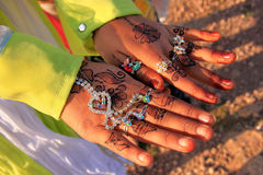 Local girl showing henna painting, Khichan village, India Stock Photo