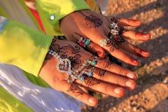 Local girl showing henna painting, Khichan village, India. Local girl showing henna painting, Khichan village, Rajasthan, India Stock Photo