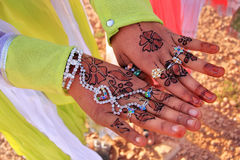 Local girl showing henna painting, Khichan village, India Stock Photography