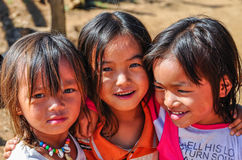 Local girls in a small community near Muang Sing, Laos Stock Photo