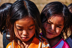 Local girls in a small community near Muang Sing, Laos Stock Image