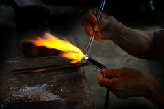 Local glass making. Royalty Free Stock Photography