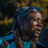 Local Guide celebrating on Kilimanjaro Royalty Free Stock Images