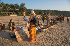 Local hippies sell hand-made goods at a flea market in Arambol. 19 January 2017. local hippies sell hand-made goods at a flea market in Arambol on the beach at Royalty Free Stock Photography