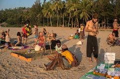 Local hippies sell hand-made goods at a flea market in Gokarna. 19 January 2017. local hippies sell hand-made goods at a flea market in Gokarna on the beach at Royalty Free Stock Image