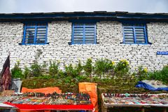 Local house at mountain village at base camp path stock photos