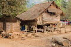 Local houses at Long Neck Karen ethnic hill-tribe guarded village,. Chiang Mai, Thailand royalty free stock image