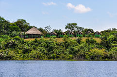 Local huts in the Amazon Rainforest, Manaos, Brazil. Local huts in the Amazon Rainforest, close to Manaus, Brazil Stock Images