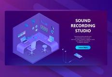 Local isométrico do vetor 3d para o estúdio de gravação sonora ilustração royalty free
