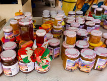 Local jams and jellies for sale in the caribbean Royalty Free Stock Photo