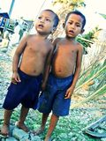 Khmer Friends. Local Khmer kids hanging out together in Cambodia Royalty Free Stock Photography