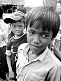 Khmer Friends. Local Khmer school kids hanging out in school yard during break Royalty Free Stock Photography