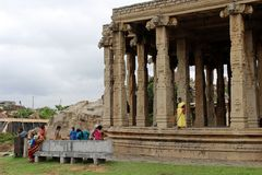 Local ladies are gathering at one temple in Hampi stock photo