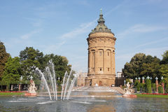 Local landmark Wasserturm in Mannheim, Germany. With fountain Royalty Free Stock Photos